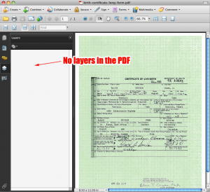 """There's no true """"layers"""" in the PDF"""